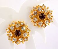 Vintage Faux Amethsyt And Sparkling Rhinestone Clip On Earrings.
